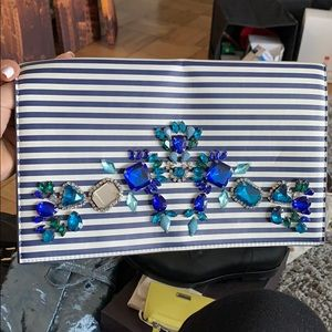 Express Clutch | Navy and white plus rhinestones.